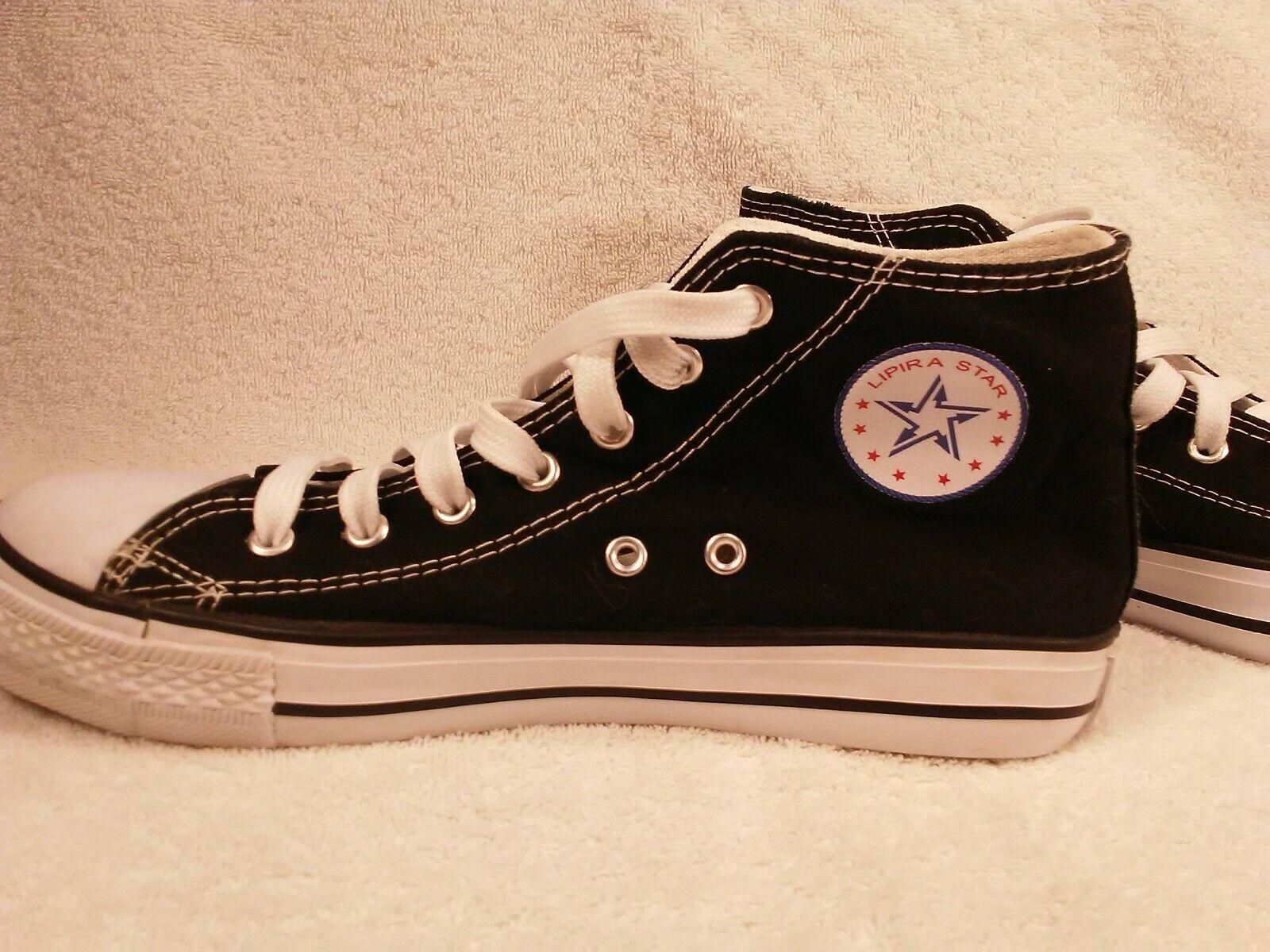 Lipira Star High Cut Unisex Canvas Shoes Fashion Prris Black size 10