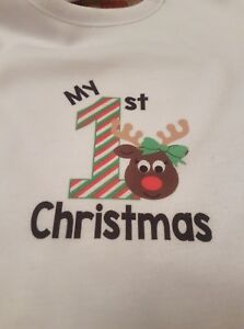 ec27d4c3b6e1 My 1st Christmas Reindeer (bow) T-shirt & Bib Baby outfit Gift First ...