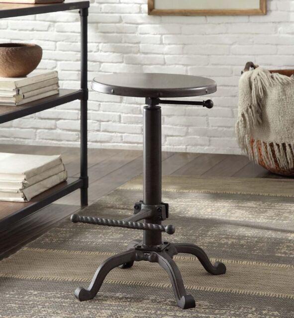 Awe Inspiring Iron Metal Adjustable Restoration Swivel Stool Industrial Crank Bar Chair Rustic Beatyapartments Chair Design Images Beatyapartmentscom