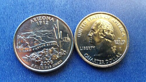 2008 D Arizona Statehood Quarter Uncirculated from OBW Roll Ships Free One