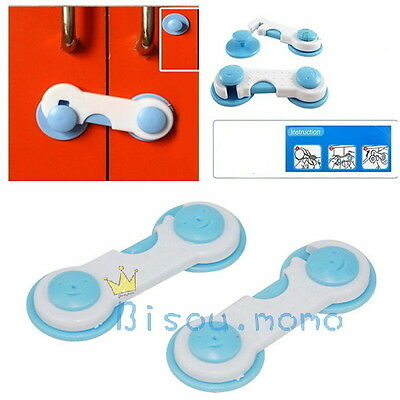 Children Kids Baby Safety Protect Secure Lock for Cupboard Wardrobe Frige 1Pair