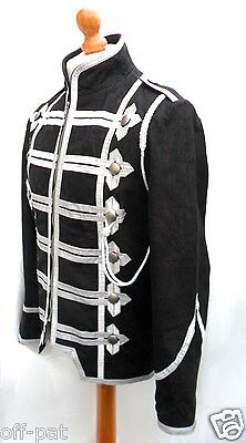 Military Rock Jacket Tunic NUBUCK LEATHER Hussar Style  Silver Braid  Steampunk