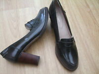 BODEN FAB DARK GREY HEELED LEATHER LOAFERS  SIZE 41==7 BNWOB