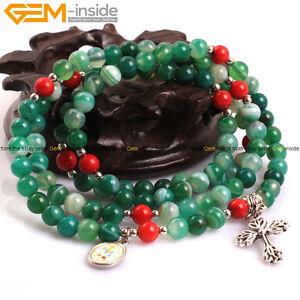 6mm Round Assorted Gemstone Cross Prayer Rosary Bead Jewelry Bracelet 22/27/30''