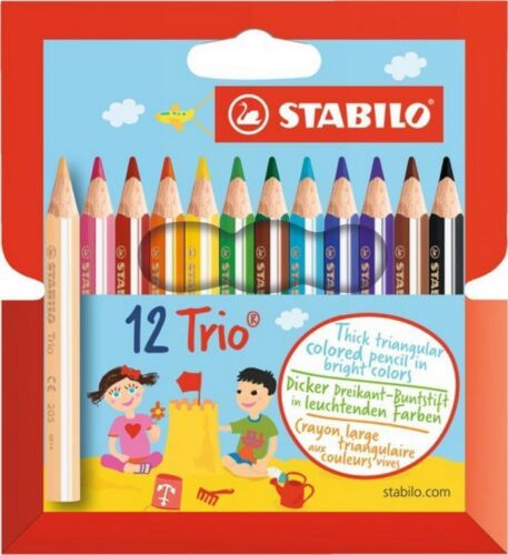 Farbstift Stabilo Trio 205//12-01 12er Etui kurz dick Farbstifte Buntstifte