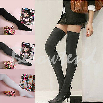 Womens Girls Chic Popular Over The Knee Cotton Socks Thigh High Cotton Stockings