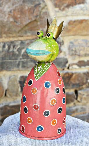 ❀ Zaunhocker Froschkönig Frosch Rosa Grün Orange Zaunfigur Pfostenhocker  #404A
