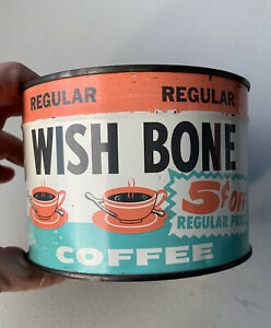 Wish Bone Coffee Tin - 1 Pound Can - Unopened Key Wind - Excellent Condition