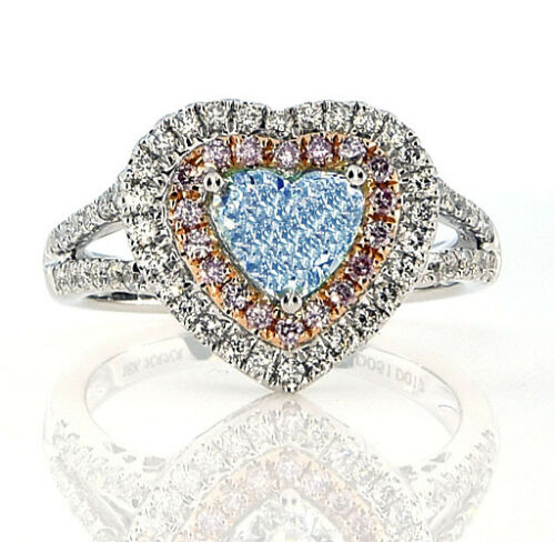 Real Gia 1 73ct Natural Fancy Light Blue Pink Diamonds Engagement Ring 18k Ebay