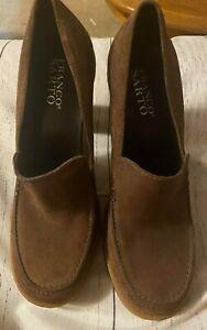 Franco-Sarto-Women-039-s-7-5-Tan-Brown-Nude-Suede-Leather-Platform-Block-Heel-Loafer