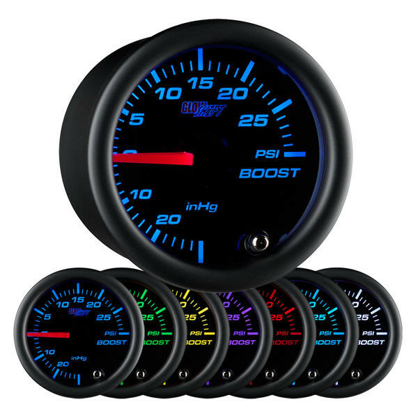 Glow Shift Black 7 Color 30 Psi Boost  Vacuum Gauge Gs