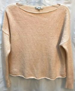 Madewell-Style-E5186-Wool-Blend-Boat-Neck-Crop-Sweater-Women-039-s-XS-Peach-White