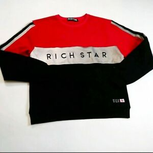 Men-rich-star-100-authentic-crewneck-Sweater-size-LARGE-reflective-red-black