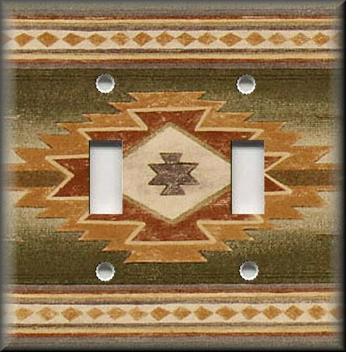 Metal Light Switch Plate Cover - Southwestern Pattern Tan Rust Home Decor