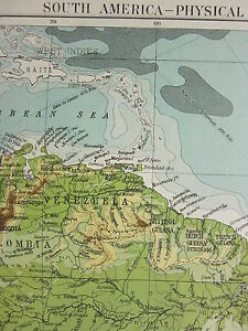 1919 LARGE MAP ~ SOUTH AMERICA LAND HEIGHTS BRAZIL CHILE ARGENTINE COLOUMBIA