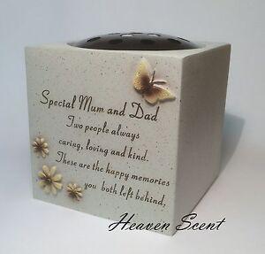 Memorial For Special Mum & Dad Grave Flower Vase Pots Ornament Funeral Rose Bowl