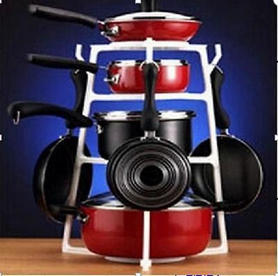 Brand New 4 layer Pan Basin Stand Tree storage Kitchen Cookware Organizer Pan