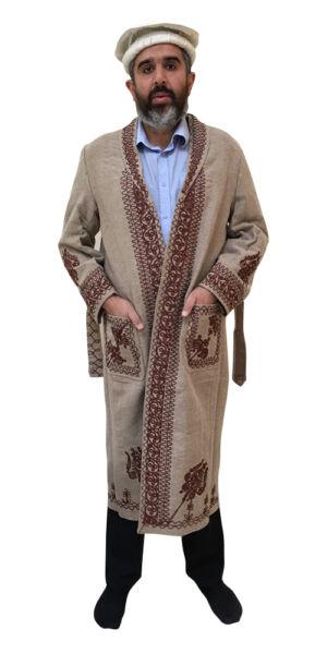 100% Vero Afghan Giacca Pakol Coperta Beige Per Uomini Lussuoso Lungo Originale