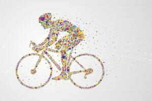 Cyclist-Pixel-Man-Art-Print-Mural-inch-Poster-36x54-inch