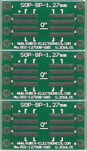 "FR Adaptateur PCB SO8,SOP8,SOIC8 1.27mm à DIP8 0.6/"". 3 PCS"