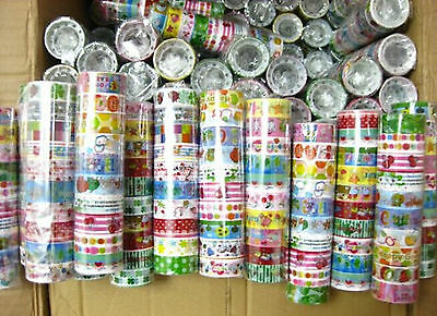 10X 1.5X200cm Rolls Mixed Cartoon Deco Washi Tape Adhesive Scrapbooking Sticker