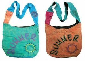 FABRIC BAG SUMMER SHOULDER BEACH SHOPPING FESTIVAL BAG  STRAP POCKET UK SELLER