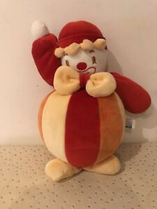 Doudou-Peluche-SUCRE-D-039-ORGE-CLOWN-BOULE-Rouge-Jaune-Orange-26cm
