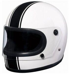 bandit integral helmet cafe racer white with black stripe. Black Bedroom Furniture Sets. Home Design Ideas