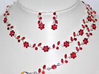 3pc Red Flower Rhinestones Including Bridal Necklace, Earrings And Bracelet Set