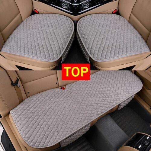 Car Seat Cushion Cover Linen Fabric Front Rear Flax Breathable Protector Mat Pad