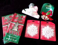 Christmas Decorations Glitter Snowflakes Tinsel Bells Bow Snowman Nic Nac