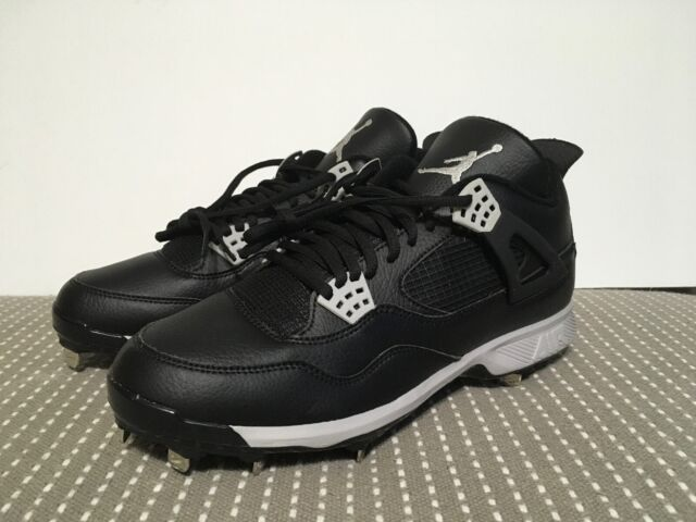 af9170576544 Jordan IV 4 Retro Nike Metal Baseball Cleat Size 13 Oreo 807710-010 Black  Grey