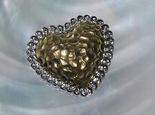 Estate Large Hammered Goldtone with Silvertone Swirl Edge Half Puffy Heart Pen