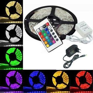STRISCIA-A-LED-SMD-5050-RGB-5-METRI-BOBINA-CON-ALIMENTATORE-TELECOMANDO-300-LED