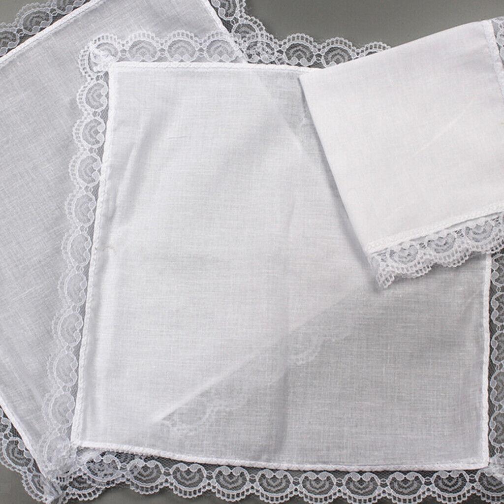 10 Stück 100% Baumwolle Weiß Taschentücher DIY Pocket Square Lace