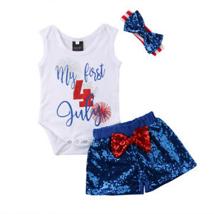 3209176808aa 4th of July Baby Girl 1st Independence Day US Flag Romper Pant ...