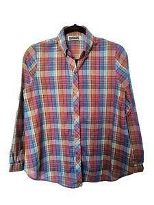 Vintage S M Shirt Blouse Multicoloured Rainbow Check Small Medium Retro Medium