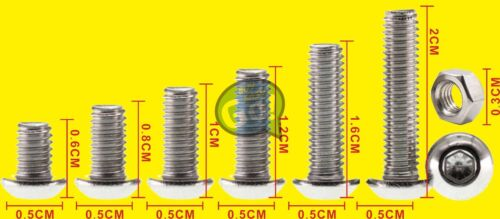 3mm 250x Stainless Steel Allen Bolts With Hex Nuts Screws Assortment A2 M3