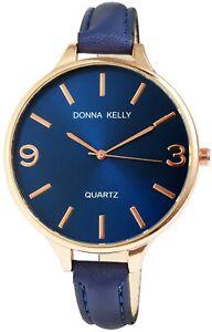 Donna-Kelly-Damenuhr-Blau-Gold-Analog-Metall-Kunst-Leder-Armbanduhr-X1900003005