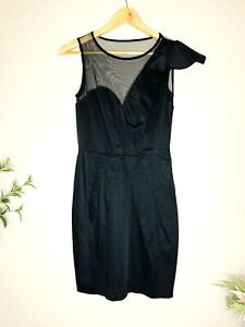 FOREVER NEW Black Size 8 Mesh Pleated Left Shoulder Fitted Party Cocktail Dress