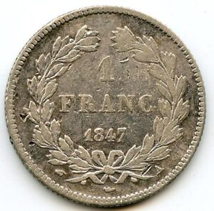 France Louis-Philippe The1st 1 Franc 1847 Paris F.210 / 110 N° 2