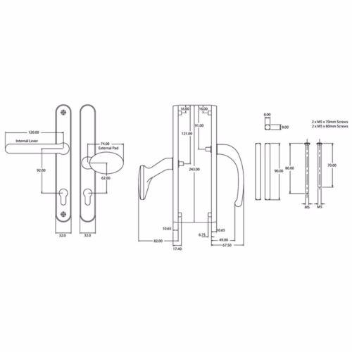 Balmoral 92PZ chrome levier poignée PVC Pad portes dlm