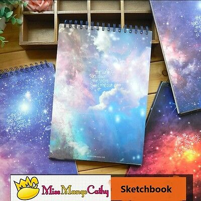 """""""Stars Come"""" 1pc Coil Spiral A4 Notebook Sketchbook Big Blank Planner Notepad"""