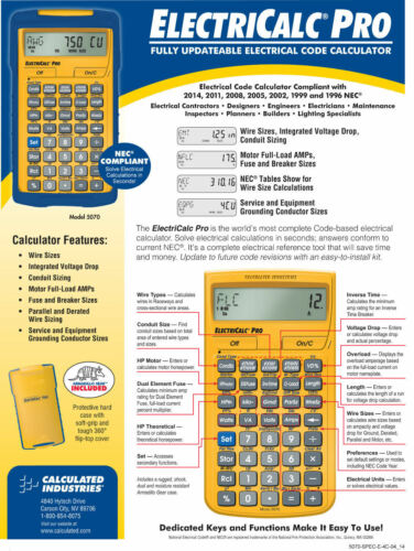 Calulated Ind ElectriCalc Pro Calculator 5070 w//Case /& Spare CR2016 Battery