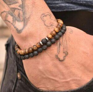 BRACELET HOMME EN PIERRE DE LAVE ET OEIL DE TIGRE