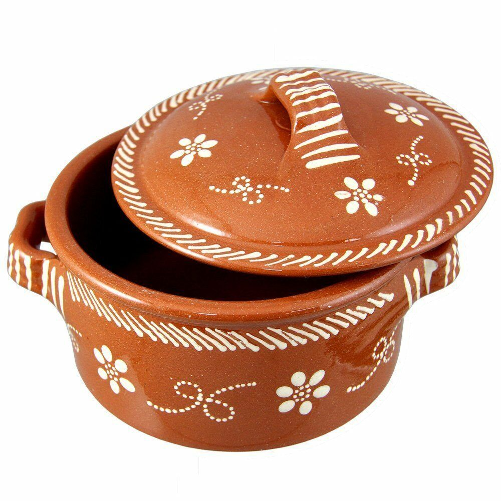 Traditional Portuguese Hand Painted Clay Terracotta Cazuela Cooking Pot With Lid