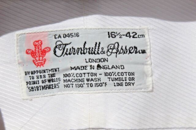 Turnbull & Asser 16.5/36 White French Cuff Shirt -England- $365.00- MJM Monogram