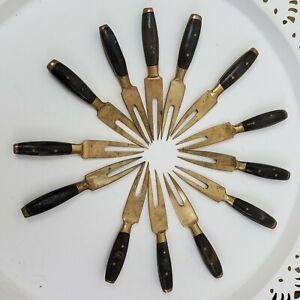 Lot-of-13-MCM-Vintage-Appetizer-Forks-Solid-Brass-amp-Riveted-Dark-Wood-Handles