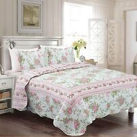 Fancy Collection 3pc Bedspread Bed Cover Floral Off White Green Pink Reversib... on sale