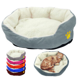 Soft-Grey-Plush-Dog-Bed-Pet-Cat-Calming-Bed-Warm-Round-Sofa-Cushion-for-Crates
